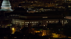 Flying over Capitol Hill at night, Office of Compliance and Library of Congress Stock Footage