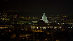 Orbiting Capitol Hill with Library of Congress sliding past Capitol dome, - stock footage