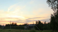 Sunset over the meadow. Syropyatskoe village, Kormilovskiy District, Omsk Region Stock Footage