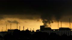 Time lapse shot of electric power station at sunrise, 4k Stock Footage