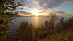 Sunset on the river Kama. Cape Strelka, Gorodishche Village,  Stock Footage