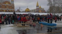 Orthodox Baptism Celebration Kiev Bathing People Baptism of Jesus Christ - stock footage
