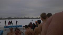 Orthodox Baptism Kiev People Are Bathing Baptism of Jesus Christ Embankment of - stock footage