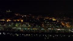 Flying along the Potomac toward Key Bridge at night, past Georgetown; National Arkistovideo