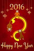 Chinese New Year postcard - stock illustration