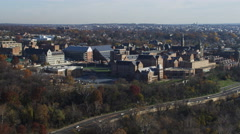 Approaching Georgetown University in Washington DC; Canal Road in foreground. Stock Footage