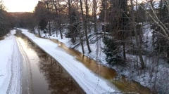 Open winter river, in raasepori, uusimaa, Finland Stock Footage