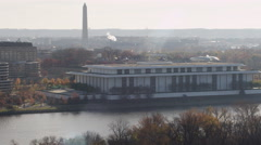 Flying past Kennedy Center on a hazy day in Washington DC; Washington Monument Stock Footage