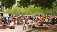 Immigration law protesters rally in Phoenix City Hall courtyard Stock Footage