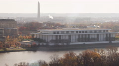 Flying past Kennedy Center on a hazy day  in Washington DC. Washington Monument - stock footage