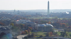 Flying past United States Institute of Peace, over Foggy Bottom and Constitution Stock Footage