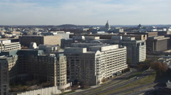 Flying over Southwest District of Washington DC, Southwest Freeway coming into - stock footage