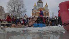 Orthodox Baptism Kiev People Feel Cold Running After Bathing Baptism of Jesus - stock footage