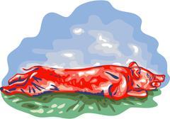 Lechon Roast Pig WPA - stock illustration
