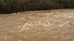 Left pan upstream on a creek in flood Stock Footage
