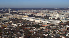 Wide view of National Mall and Capitol Hill in Washington DC; flight crosses Stock Footage