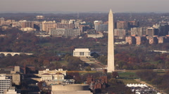 Flying over Capitol Hill with Washington Monument and Lincoln Memorial on Stock Footage