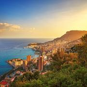 Monaco Montecarlo principality aerial view. Azure coast. France Stock Photos