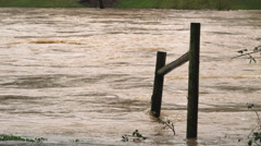 A swift muddy current washes around fence posts leading down to a flooding river Stock Footage