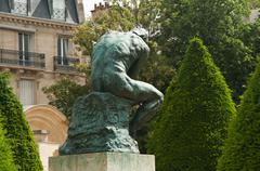 the thinking in Rodin Museum - stock photo