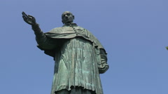 The statue of Saint Charles Borromeo in Arona Stock Footage