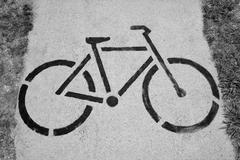 Bicycle sign of cycle trail - stock photo
