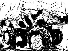 Monster truck abstract drawing - stock illustration
