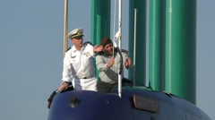 Raising and saluting the flag during ceremonial welcome of Rahav Submarine Stock Footage