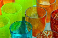 Colorful Glass-work cups background - stock photo