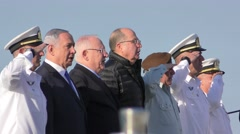VIP sing Hatikva national anthem during ceremonial welcome - stock footage