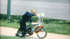 Cute Little Boy Crashes Tricycle On Sidewalk-1967 Vintage 8mm film Stock Footage