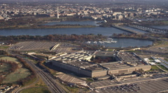 Wide view of Pentagon with Washington DC in background, Arland D. Williams and Stock Footage