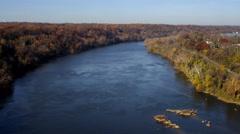 Potomac River in autumn, Virginia shore on left. Shot in November 2011. Stock Footage