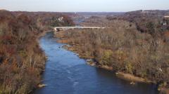 Flying up the Potomac toward the Chain Bridge, George Washington Memorial Stock Footage