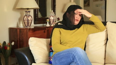 Stock Video Footage of Muslim woman having headache