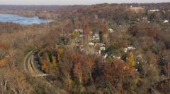 Over Clara Barton Parkway and Chesapeake & Ohio Canal National Historic Park Stock Footage