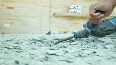 Repairing the cement floor tile Stock Footage