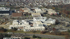 Stock Video Footage of Rotating high over the Department of Veterans Affairs Medical Center in