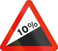Road sign used in Spain - Steep ascent - stock illustration