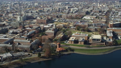 Approaching and rotating over Howard University's Upper Quadrangle in Washington Stock Footage