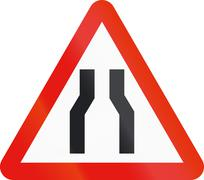 Road sign used in Spain - Narrowing of carriageway Stock Illustration