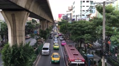 Traffic in Sukhumvit Bangkok Thailand Stock Footage