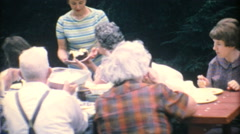 Mom Serving Birthday Cake At Family Reunion-1967 Vintage 8mm film Stock Footage