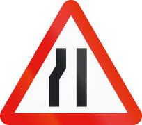 Road sign used in Spain - Narrowing of carriageway on the left Stock Illustration