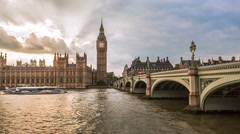 Houses of parliament at dawn, London, UK Stock Footage