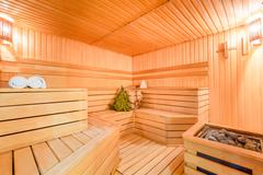 seats wooden a steam room without the people - stock photo