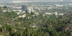 Looking down from Mulholland Drive at Sepulveda Dam and Sherman Oaks, California Stock Footage