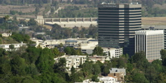 Sepulveda Dam and downtown Sherman Oaks, California, seen from Mulholland Drive Stock Footage