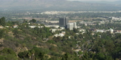 Wide view of Sepulveda Dam and Sherman Oaks, California, seen from Mulholland Stock Footage