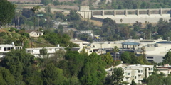 Sepulveda Dam and freeway traffic in Sherman Oaks, California, seen from Stock Footage